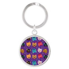 Cute Cat Mustache and Lips, Purple Round Keychain