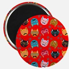 Cute Cat Mustache and Lips, Red Magnet