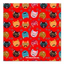 Cute Cat Mustache and Lips, Red Square Car Magnet