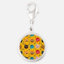 Cute Cat Mustache and Lips, Yellow Silver Round Ch