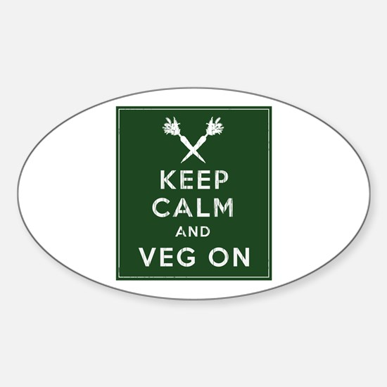 Keep Calm and Veg On Sticker (Oval)