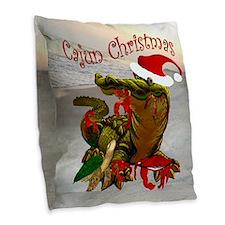Cajun Christmas Burlap Throw Pillow