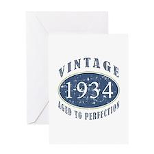 1934 Vintage (Blue) Greeting Card