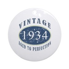 1934 Vintage (Blue) Ornament (Round)