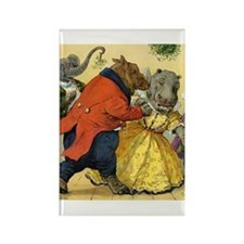 Christmas Dance in Animal Land Rectangle Magnet