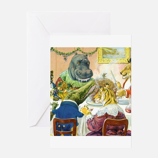 Christmas Banquet in Animal Land Greeting Card
