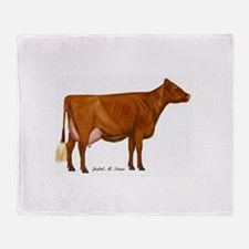 Milking Shorthorn Throw Blanket