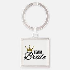 Team Bride crown Square Keychain