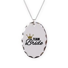 Team Bride crown Necklace Oval Charm