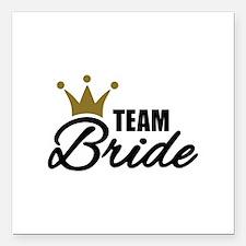 "Team Bride crown Square Car Magnet 3"" x 3"""