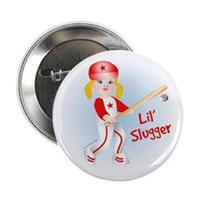 Lil Slugger Girl Blonde Button