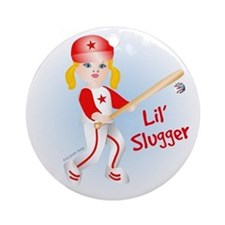 Lil Slugger Girl Blonde Ornament (Round)