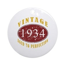 1934 Vintage (Red) Ornament (Round)