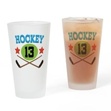 Hockey Player Number 13 Drinking Glass