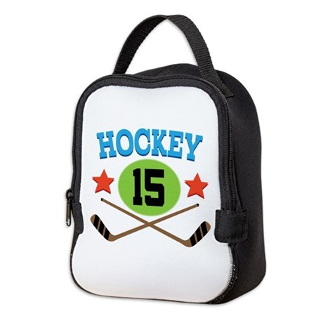 Hockey Player Number 15 Neoprene Lunch Bag