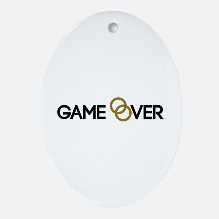 Game over Wedding rings Ornament (Oval)