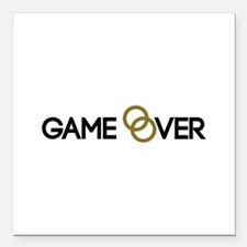 "Game over Wedding rings Square Car Magnet 3"" x 3"""
