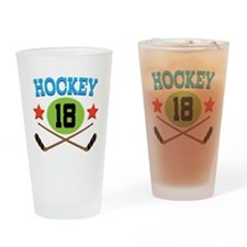 Hockey Player Number 18 Drinking Glass