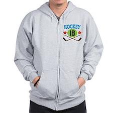 Hockey Player Number 18 Zip Hoodie