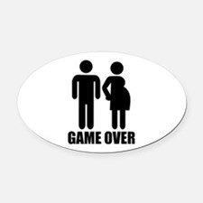 Game over Pregnancy Oval Car Magnet