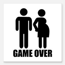 "Game over Pregnancy Square Car Magnet 3"" x 3"""