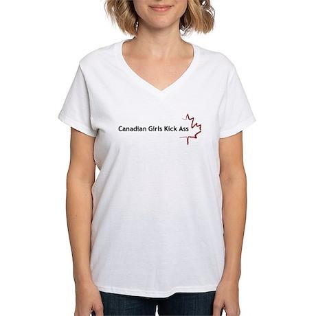 Canadian Girls Kick Ass - Women's V-Neck T-Shirt