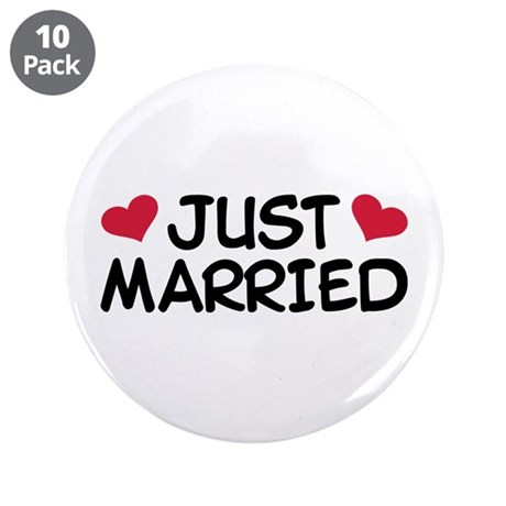 """Just Married Wedding 3.5"""" Button (10 pack)"""