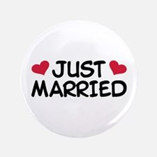 "Just Married Wedding 3.5"" Button (100 pack)"