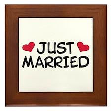 Just Married Wedding Framed Tile