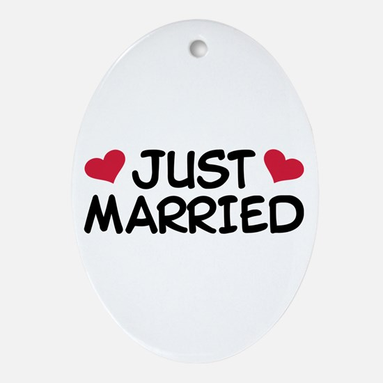 Just Married Wedding Ornament (Oval)