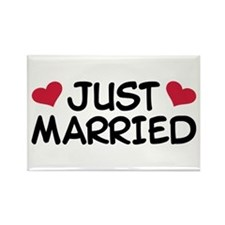 Just Married Wedding Rectangle Magnet