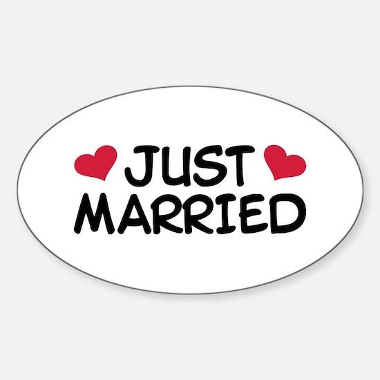 Just Married Wedding Sticker (Oval)