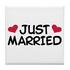 Just Married Wedding Tile Coaster