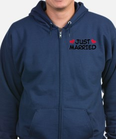Just Married Wedding Zip Hoodie
