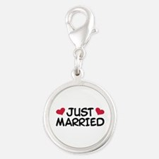 Just Married Wedding Silver Round Charm