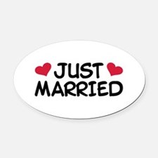Just Married Wedding Oval Car Magnet