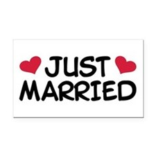 Just Married Wedding Rectangle Car Magnet