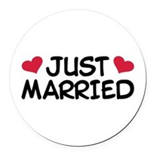 Just Married Wedding Round Car Magnet
