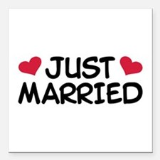 """Just Married Wedding Square Car Magnet 3"""" x 3"""""""