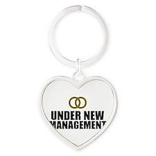 Under New Management Wedding Heart Keychain