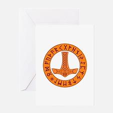 Mjölnir Rune Shield Greeting Cards