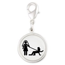Bachelor party Wedding slave Silver Round Charm