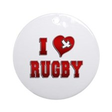 I Love Rugby Ornament (Round)