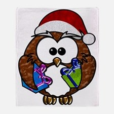 Cute Christmas Owl Throw Blanket