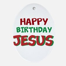 Happy Birthday Jesus Ornament (Oval)