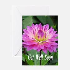 Purple Yellow Dahlia Greeting Cards