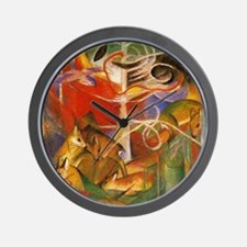 Art Deco Deer In The Forest Wall Clock