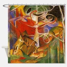 Art Deco Deer In The Forest Shower Curtain
