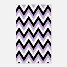 Black lavender and White chevrons 3'x5' Area Rug