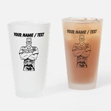 Big Police Officer Drinking Glass